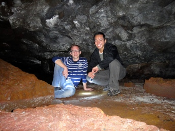Rick and Me posing inside the lava tubes.