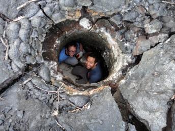 Exploring a lava hole.