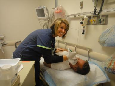 RN Sara cleaning my wound. Weirdest feeling ever.