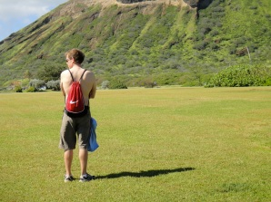 Prepping to climb Koko crater.