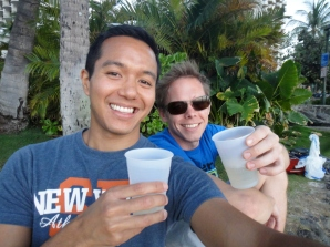 Enjoying the Moscato on Waikiki beach, Oahu.
