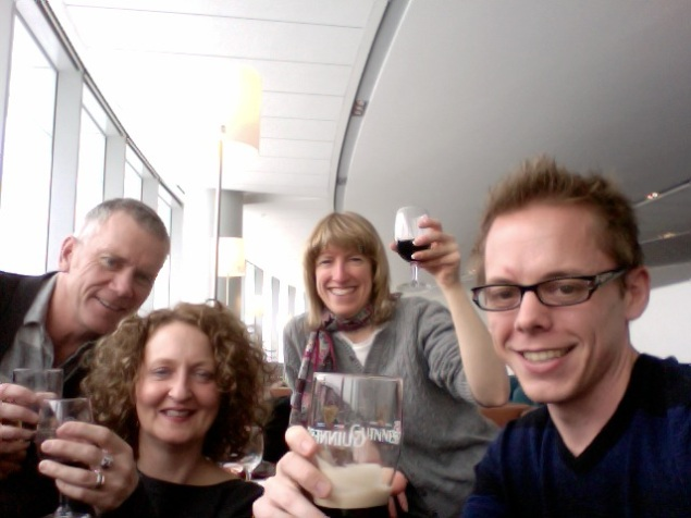 Enjoying some beverages from the Maple Lounge at the airport.
