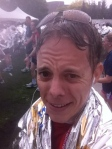 After crossing the finish line. Wet, tired, sore, but feeling like a million bucks.