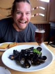 A delicious plate of mussels for lunch.