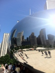 A shot of the skyline through the Millenium Bean