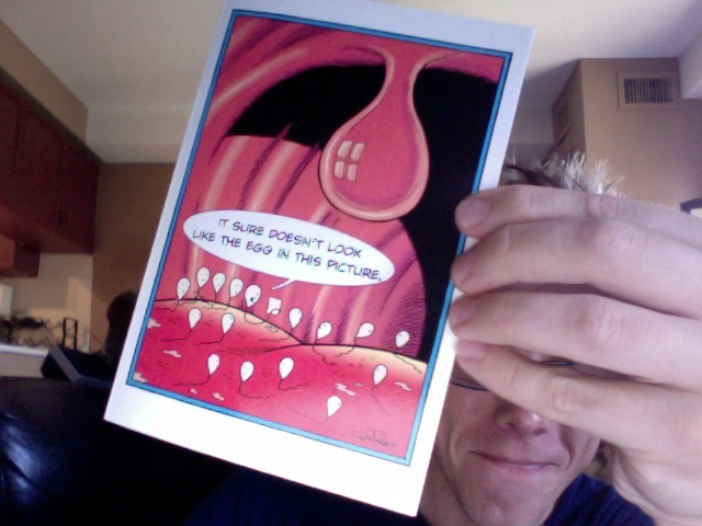 The card that Rick gave me. Inappropriately hilarious.
