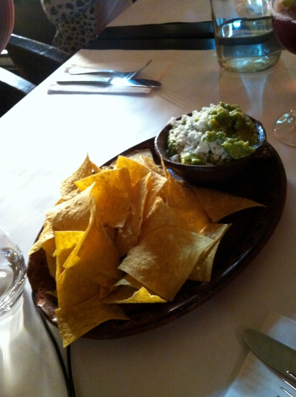 Corn chips and guacamole.
