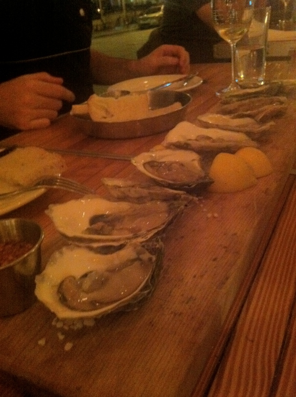 Oysters to start.