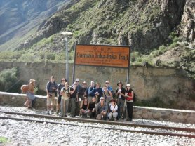 The group that hiked the mountains to Machu Picchu