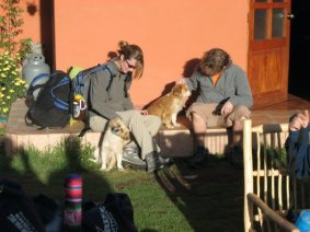 Prior to the hike. Emma and me playing with some local dogs.
