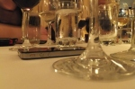 A view of the wine glasses during the wine dinner at Maloney & Porcelli's
