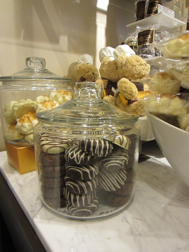 Some of the chocolate offerings in the Godiva store.