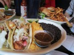 Lunch at the Cafe Habana - fish tacos, diablo chicken, and roasted corn on the cob.
