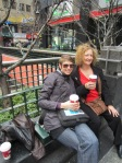 Steph and Gerarda enjoying a coffee prior to the show.