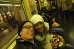 Arlene and me, on the subway to Prince Street.