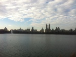 The skyline from Central Park overlooking the lake.