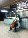 A solo at a subway station around 41st street.