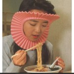 "I'm sure this ""sauce/noodle protector"" is functional, but its form leaves something to be desired."