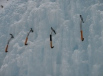 The ice-axes, lined up for training.