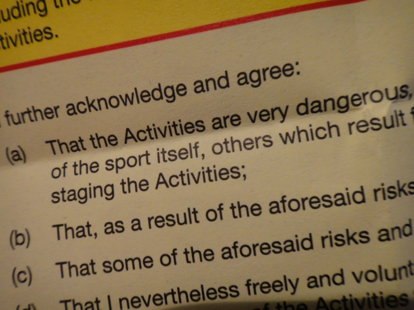 "The waiver we had to sign. ""...very dangerous"". Ha! We laugh in the face of danger. Seriously. We giggled all the way down the mountain."