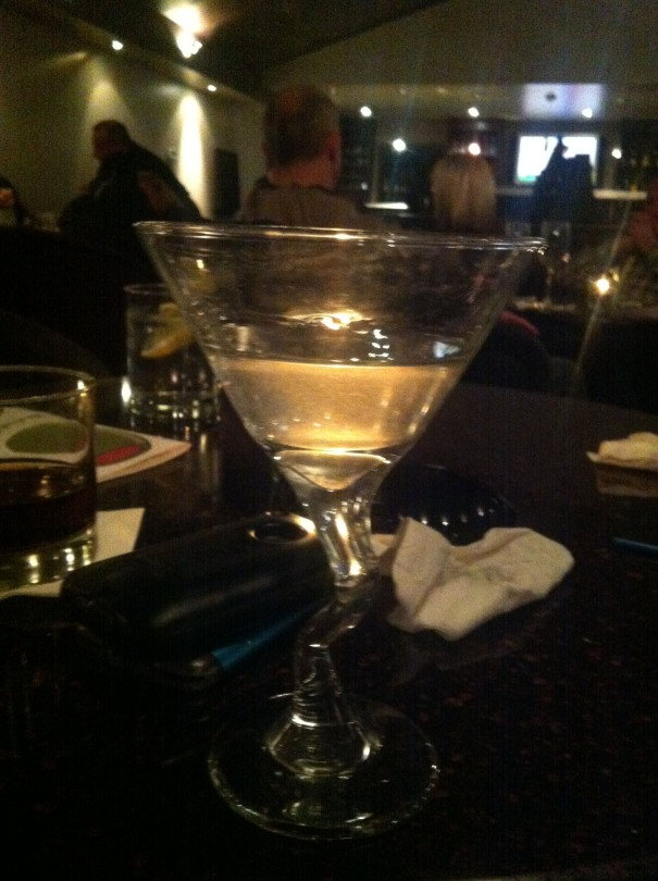 Mmm, Hendrick's martini. Not shown - two garlic stuffed olives that I'd already eaten. YUM.