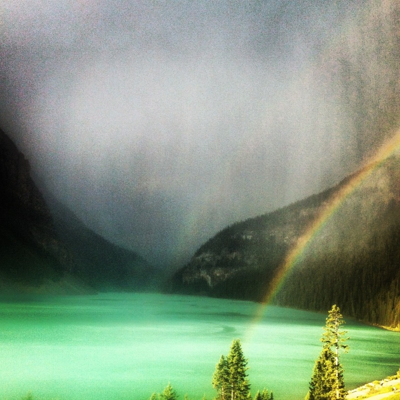 A rainbow and snow at Lake Louise. Am I dreaming?
