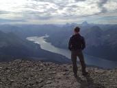 Enjoying the views at the top of Mount Sparrowhawk