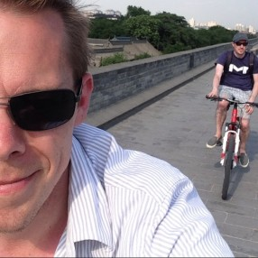 Biking the city wall with this guy.