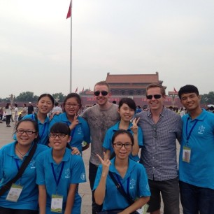 Photos with Brian and a troupe of Chinese students in Tiananmen Square.